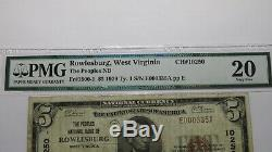 $ 5 1929 Rowlesburg Virginie Occidentale Virginie-occidentale Banque Nationale Monnaie Note Bill! Ch. # 10250