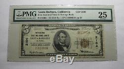 $ 5 1929 Santa Barbara En Californie Ca Banque Nationale Monnaie Note Bill # 2104 Vf25