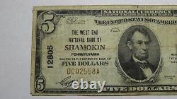 $5 1929 Shamokin Pennsylvania Pa National Currency Bank Note Bill Ch. #12805