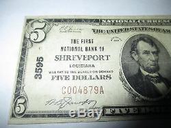 5 $ 1929 Shreveport Louisiane La Banque Nationale Monnaie Note Bill Ch # 3595 Vf