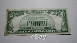 $ 5 1929 Summit New Jersey Nj Banque Nationale Monnaie Note Bill! Ch. # 5061 Rare