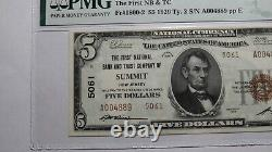 5 $ 1929 Summit New Jersey Nj National Currency Bank Note Bill #5061 Au58 Pmg