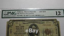 $ 5 1929 Tisbury Ma Banque Nationale Monnaie Note Bill Ch. # 1274 Vignoble De Martha