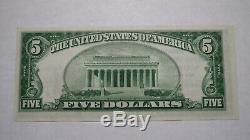 5 $ 1929 Walden New York, Ny Banque Nationale Monnaie Note Bill # 10923 Ongecirculeerd +