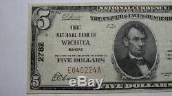 5 $ 1929 Wichita Kansas Ks Billet De Banque! Ch. # 2782 Vf +