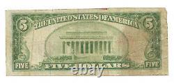 5 $. 1929 Wilmette, Banque Nationale Monnaie Illinois Note Bill Ch. # 10828