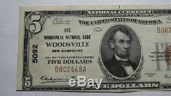 5 $ 1929 Woodsville New Hampshire Nh Banque Nationale Monnaie Note Bill! # 5092 Vf +