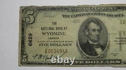 $5 1929 Wyoming Illinois IL National Currency Bank Note Bill Charter #6629 Rare