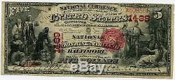$ 5 Devise Nationale National Union Bank Of Maryland Baltimore MD