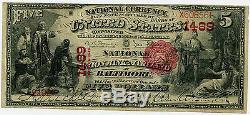 5 $ Monnaie Nationale Union Nationale Banque Du Maryland Baltimore MD Vf / Xf