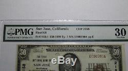 50 $ 1929 Billet De Banque National En Devise De San Jose En Californie, Californie! Ch # 2158 Vf30