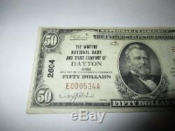 50 $ 1929 Billet De Billet De Banque De La Devise Nationale De Dayton Ohio Oh! Ch. # 2604 Vf! Les Hivers