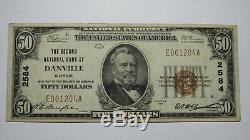 50 $ 1929 Billet De Monnaie National Danville Illinois IL IL Bill Ch. # 2584 Vf +
