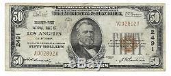 50 $. 1929 Los Angeles Californie Banque Nationale Monnaie Note Bill Ch. # 2491