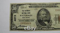 50 $ 1929 Paterson New Jersey Nj Banque Nationale Monnaie Note Bill Ch # 4072 Vf +