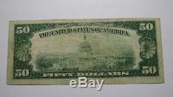 50 $ 1929 Paterson New Jersey Nj Banque Nationale Monnaie Note Bill Ch. # 4072 Vf +