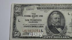 $50 1929 San Francisco Ca Réserve Fédérale Monnaie Nationale Note De Banque Bill Vf+