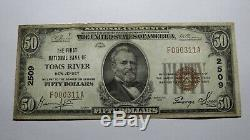 50 $ 1929 Toms River Nj New Jersey Banque Nationale Monnaie Note Bill! # 2509 Rare