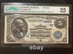 Alexandria Minnesota 1882 $5 Farmers National Bank Fr#537 Pmg 25 Billet De Devise