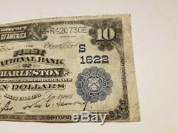 Billet De Banque En Devise Nationale De 10 Dollars Us À 10 Dollars Charleston (caroline Du Sud), 1907