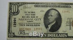 Billet De Banque En Monnaie Nationale De 1929 $ National City Illinois IL Bill # 12991 Vf