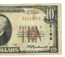 Billet En Devises Nationales De 10 $ Us First National Bank Jackson Tn 1929 Usn019 F