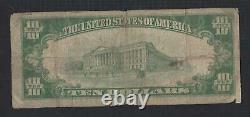Clinton, New Jersey Nj! 10 $ 1929 Première Banque Nationale Monnaie Nationale Hunterdon