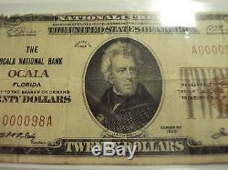 Coinhunters- $ 20 1929 Note De La Banque Nationale, Fine, Ocala Fl, Low Serial