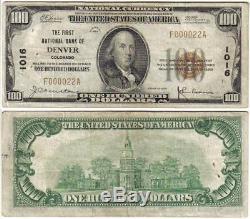 Denver Co 1929 $ 100 Devise Nationale Très Bas En Série # 000022 Colorado Bank Note