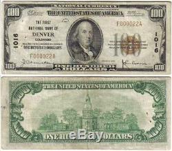 Denver Co 1929 $ 100 Monnaie Nationale Très Bas Numéro De Série: 000022 Billet De Banque Du Colorado