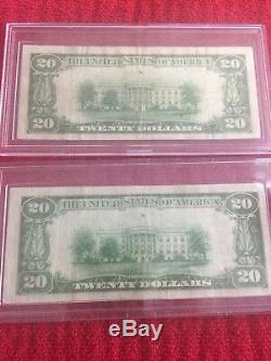 Deux Billets De Banque De 1929 D'une Valeur De 20 Dollars En Devise Nationale Et De La Banque Meyersdale Pa