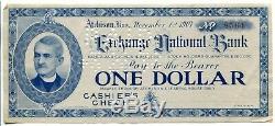 Échange Banque Nationale, 1907 Check Panique Monnaie Caissier, Atchison, Kansas