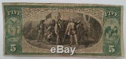 États-unis 5 Dollars 1865 Monnaie Nationale New York Marine Bank Charte # 1215 Rare