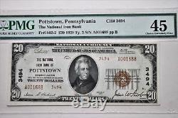 Fr # 1802-2 1929 $ 20 Banque Nationale De Pottstown Pa Monnaie Nationale Seulement 7 Connus