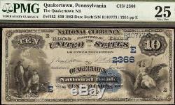 Grand 1882 10 $ Dollar Banque Nationale Quakertown Note Devise Date Retour Pmg 25