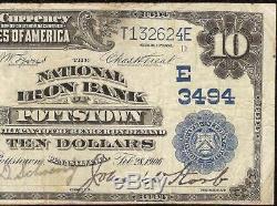 Grand 1902 $ 10 Dollar Bill Banque De Fer Nationale Pottstown Note Monnaie D'argent