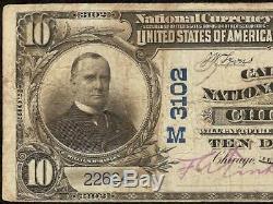 Grand 1902 $ 10 Dollars Calumet Banque Nationale De Chicago, Monnaie En Papier-monnaie