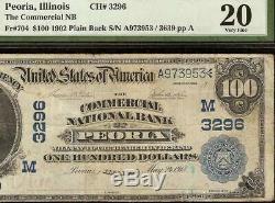 Grand 1902 $ 100 Dollar Peoria IL Banque Nationale Billet De Billets Ancien Papier Monnaie