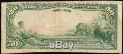 Grand 1902 $ 50 Dollar Bill Omaha Banque Nationale Note Devise Nebraska Ch 1633