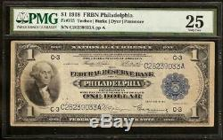 Grand 1918 $ 1 Dollar Bill Vert Eagle Bank Note Monnaie Nationale Fr 715 Pmg