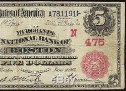 Grand Billet De 1902 $ 5 Dollars Boston Banque Nationale Sceau Rouge Devise
