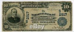 Grand Billet De La Banque Nationale Hustonville Danville Kentucky 1902 Rare 10 $ Currency