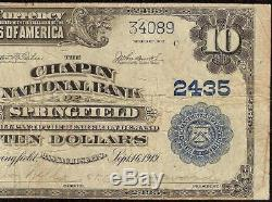 Grande 1902 $ 10 Dollar Bill Chapin Banque Nationale Note Devise Springfield