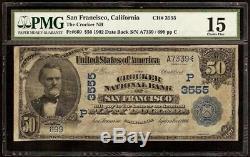Grande 1902 $ 50 Dollar Bill San Francisco Crocker Banque Nationale Note Monnaie Pmg