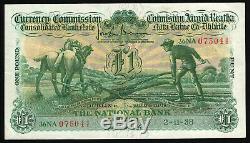 Irlande Commission Monétaire Plowman £ 1 Banque Nationale, La Date 11/02/38, Nice Vf
