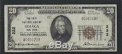 Ithaca, New York Ny 20 $ 1929 1ère Banque Nationale Collège National De La Monnaie Cornell
