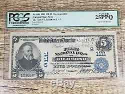 La First National Bank De Richmond Virginia Va $ 5 Monnaie 1902db Charte 1111