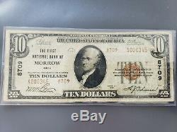 La First National Bank Of Morrow Ohio Ch # 8709 Monnaie Nationale 1929 10 $ De Ty. 2