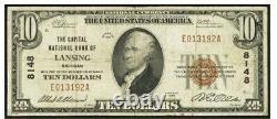 Lansing MI Capital Banque Nationale 10 $ Devise Signée Par Re Olds & Aa Elsesser