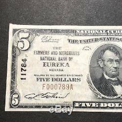 Les Paysans & Merchants Bank D'eurêka Nevada $ 5 $ Monnaie Nationale Début Low